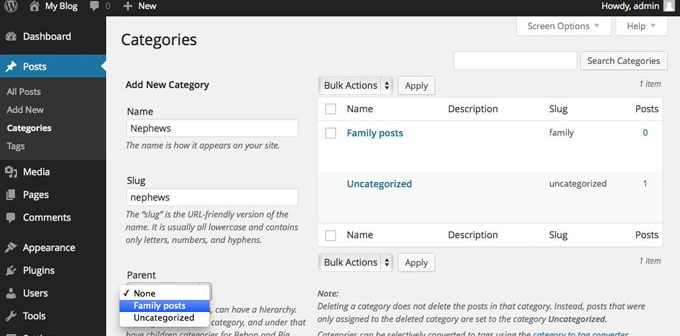 How to create Categories in WordPress?
